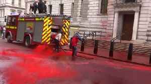 Climate change activists spray red paint at Britain's Treasury [Video]