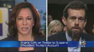 Sen. Harris Calls On Twitter To Suspend President Trump's Account Over Rule Violations [Video]
