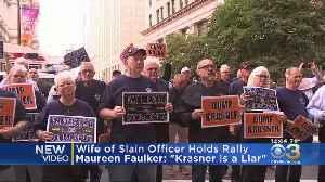 Wife Of Slain Officer Daniel Faulkner Holds Rally Outside DA Larry Krasner's Office [Video]