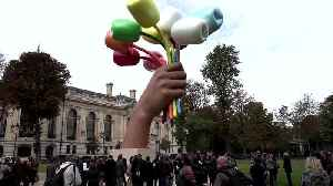Paris unveils Jeff Koons art dedicated to victims of Bataclan attacks [Video]