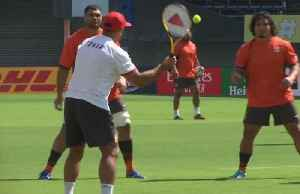 Rugby? No. Soccer and tennis for Tonga at their World Cup training [Video]