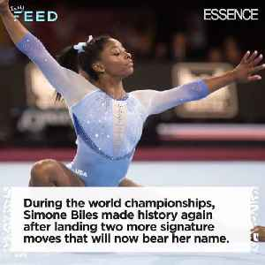 Simone Biles Makes History Again after Landing Two Signature Moves [Video]