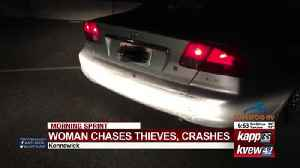Woman chases thieves, crashes [Video]