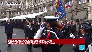 France: French president Emmanuel Macron enters police HQ and pays homage to the victims [Video]