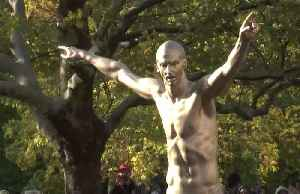 """Powerhouse"" statue of Zlatan Ibrahimovic unveiled in his hometown [Video]"