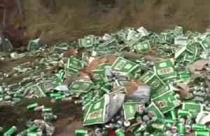Australia truck crash causes major beer spill [Video]