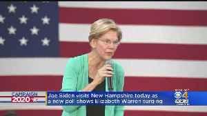 News video: Joe Biden Visits New Hampshire As New Poll Shows Elizabeth Warren Surging