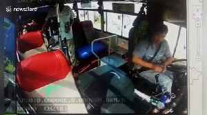 Elderly Chinese man attacks bus driver after he refuses to let the passenger off [Video]