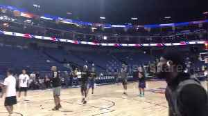 Los Angeles Lakers and Brooklyn Nets warm-up before preseason game in Shanghai [Video]