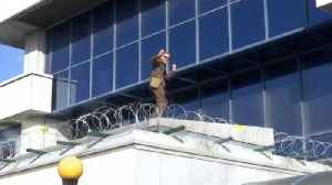 News video: Climate Change Protestor Dances on the Roof of London City Airport