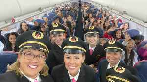 Female Flight Crew Flies 120 Girls To NASA To Inspire Female Aviators [Video]