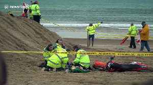 Marshal seriously injured as motocross bike lands on him during practice race on Weymouth beach, UK [Video]