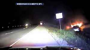 Dash cam shows fiery crash caused by suspected drunk driver [Video]