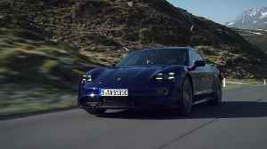 The new Porsche Taycan Turbo in blue Driving Video [Video]