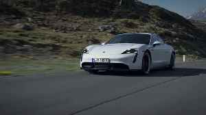 The new Porsche Taycan Turbo S in white Driving Video [Video]