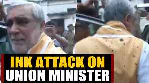 Union Minister Ashwini Choubey attacked with ink at Patna's PMC   OneIndia News [Video]
