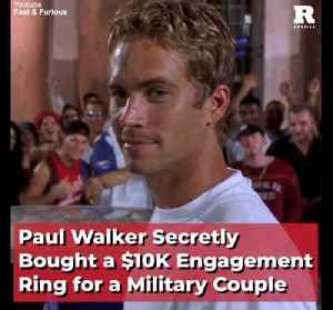 Paul Walker Secretly Bought a $10K Engagement Ring for a Military Couple [Video]