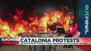 Protesters clash with police in third day of Catalan pro-independence demonstrations [Video]