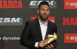Barca's Messi receives record sixth European Golden Shoe [Video]