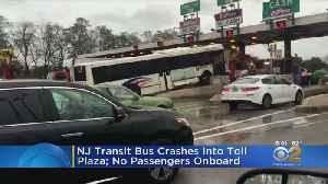 NJ TRANSIT Bus Slams Into Toll Plaza [Video]