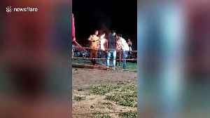 Man sustains spinal injury while jumping through burning hoop in central India [Video]