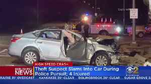 Theft Suspect Slams Into Car After Police Pursuit; 4 Injured [Video]
