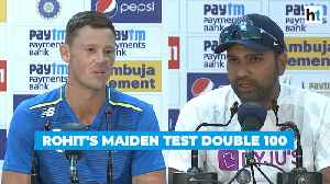 News video: India vs SA: Watch Rohit Sharma's reaction after his maiden Test double ton