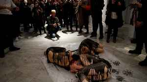 Oil on canvas: Semi-naked climate activists protest BP art sponsorship [Video]