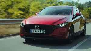 All-New Mazda3 Skyactiv-X Hatchback in Soul Red Crystal Driving in Bulgaria [Video]