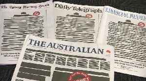 News video: Australian papers redact front pages in protest