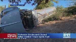 Overturned I-5 Big Rig Spills 4,000 Gallons Of Ethanol [Video]