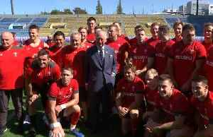 Prince Charles attends Wales rugby training session in Tokyo [Video]