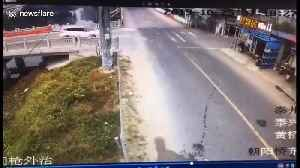 Two-storey house collapses after being hit by car in eastern China [Video]