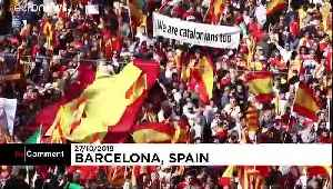 Tens of thousands protest against Catalan separatism in Barcelona [Video]