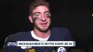 Hear from Shea Patterson, Hassan Haskins after Michigan routs Notre Dame [Video]