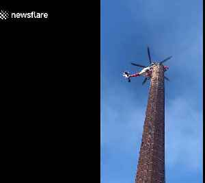 Man trapped up 290ft chimney in England sparks major rescue operation [Video]