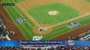 News video: MLB Bans Models Julia Rose, Lauren Summer After They Flash Houston Astros Pitcher Gerrit Cole At World Series Game 5