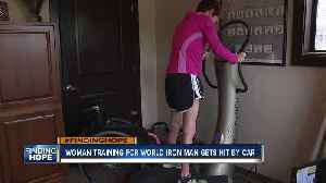 Woman training for Iron Man overcomes after being hit by car [Video]