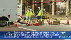 News video: Sinkhole Repairs To Take Weeks Downtown