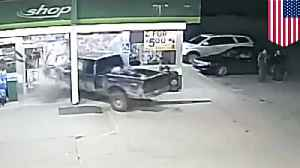 Man trying to spin tires crashes into BP station instead [Video]