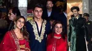 Sara Ali Khan Family OFFICIALLY MET Kartik Aaryan At Amitabh Bachchan Grand Diwali Party 2019 [Video]