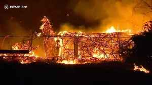 New wildfire, dubbed the 46 Fire, burns multiple structures in Jurupa Valley, California [Video]