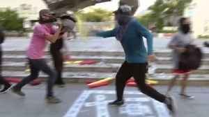 Hong Kong Protesters Train in Self-defence Using Improvised 'Shields' [Video]