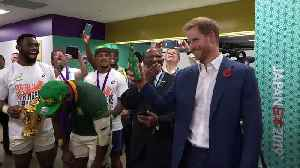 F***! You're so tall: Duke of Sussex meets South African rugby team [Video]