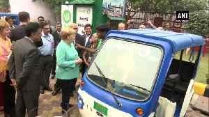 German Chancellor Angela Merkel meets e-rickshaw operators in Delhi [Video]