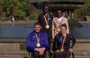 NYC marathon winners celebrate in Central Park [Video]