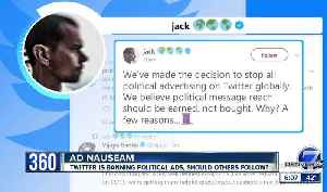 News video: Twitter bans political ads as Facebook doubles down on keeping them