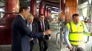 Boris Johnson visits whiskey distillery in Scotland [Video]