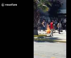 Chilean students vandalizing the streets of Santiago [Video]