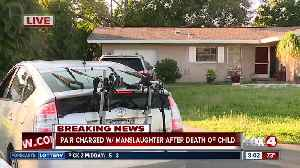 No comment made by person inside home of pair arrested on manslaughter charges in death of a child [Video]